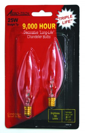25 W Straight Tip Candelabra Light Bulb, 25W Chandelier Light Bulb